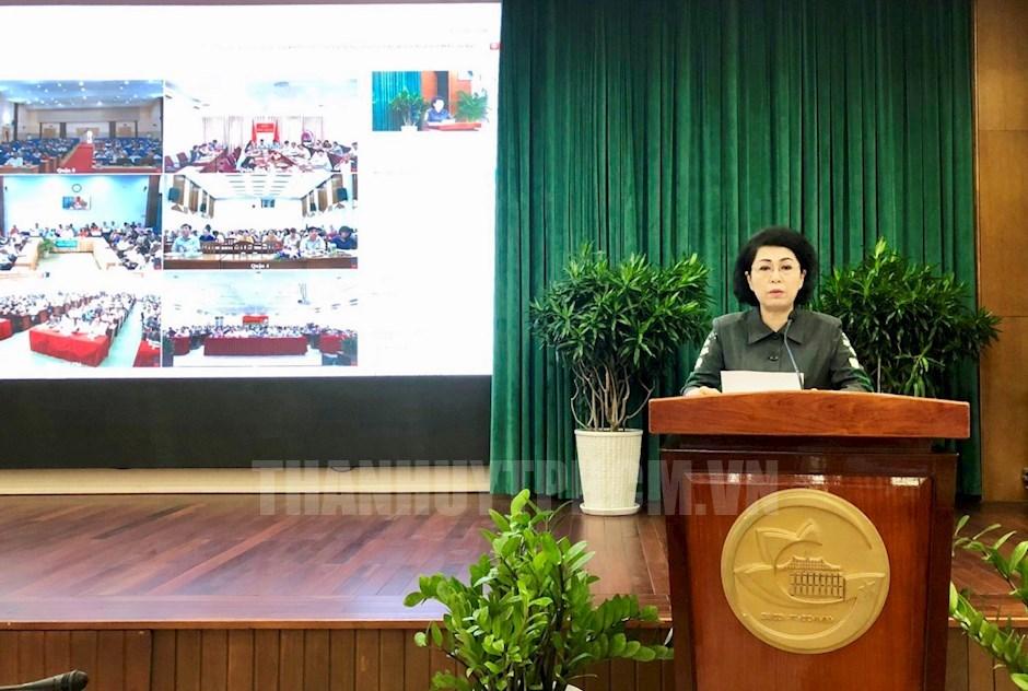 Chủ tịch Uỷ ban MTTQ Việt Nam TP Tô Thị Bích Châu phát biểu tại hội nghị