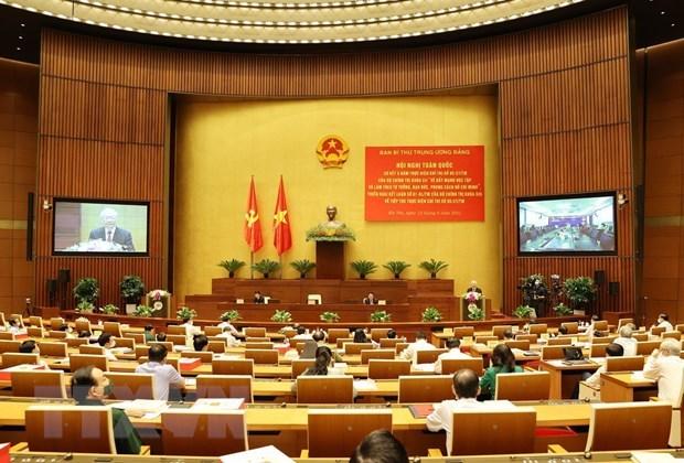 Tổng Bí thư Nguyễn Phú Trọng phát biểu chỉ đạo hội nghị. (Ảnh: TTXVN)
