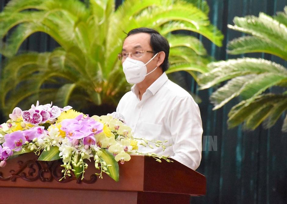 Bí thư Thành ủy TPHCM Nguyễn Văn Nên phát biểu khai mạc hội nghị