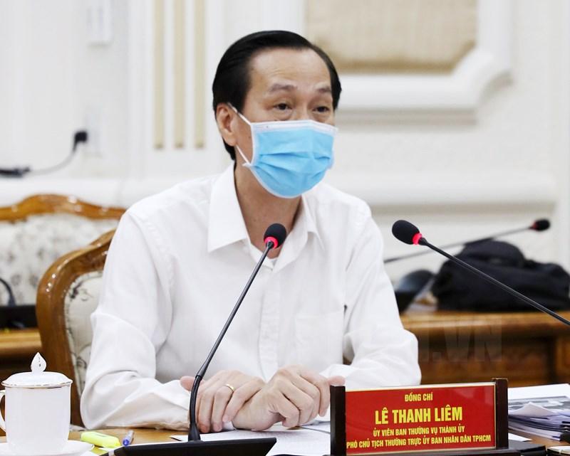 Phó Chủ tịch Thường trực UBND TP Lê Thanh Liêm tại điểm cầu UBND TP.