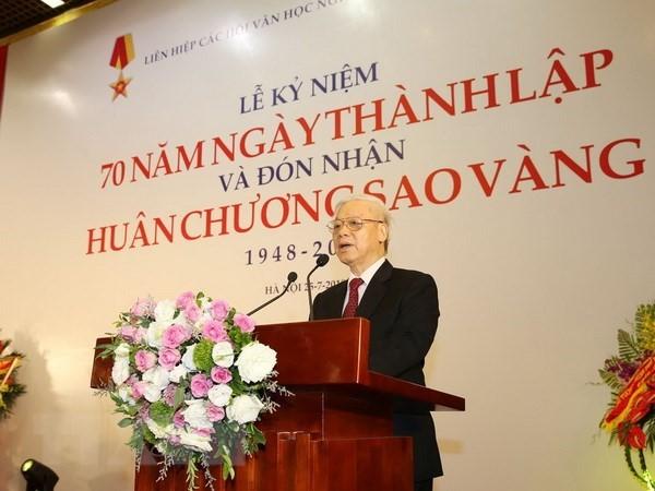 Tổng Bí thư Nguyễn Phú Trọng phát biểu tại Lễ kỷ niệm. (Ảnh: TTXVN)
