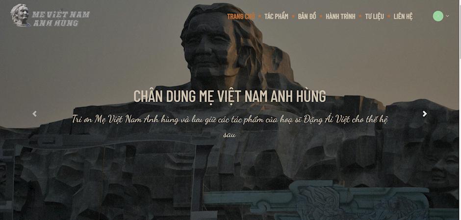 """Giao diện trang Website """"Chân dung Mẹ Việt Nam Anh hùng"""" dự kiến chính thức ra mắt vào ngày 30/10/2020"""