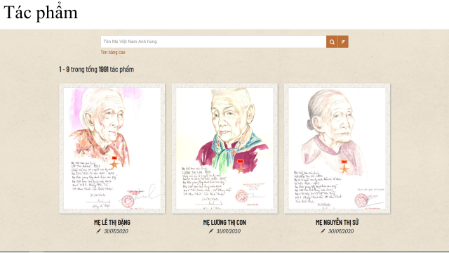 """Một số ký họa chân dung Mẹ Việt Nam Anh hùng được lưu trữ, lan tỏa trên trang Website """"Chân dung Mẹ Việt Nam Anh hùng"""""""