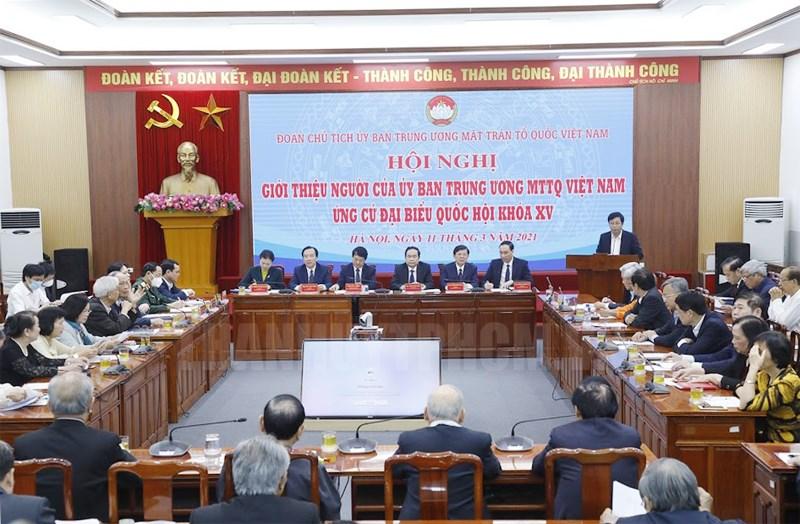Giới thiệu người của Ủy ban Trung ương MTTQ Việt Nam ứng cử Đại biểu Quốc hội khóa XV