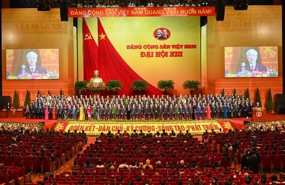 Quang cảnh phiên bế mạc Đại hội XIII của Đảng tại Trung tâm Hội nghị quốc gia.
